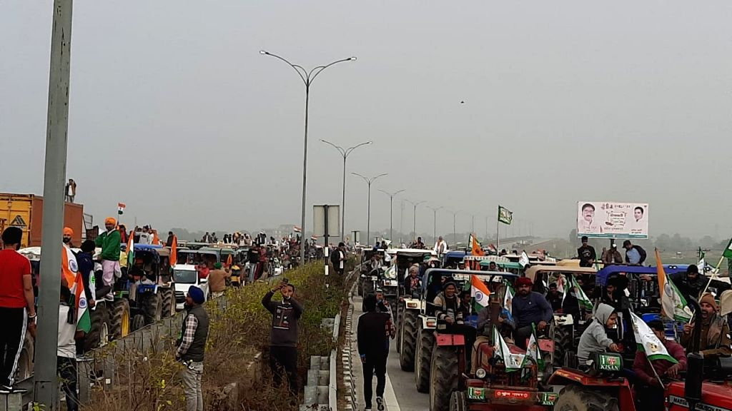 Farmers hold tractor march