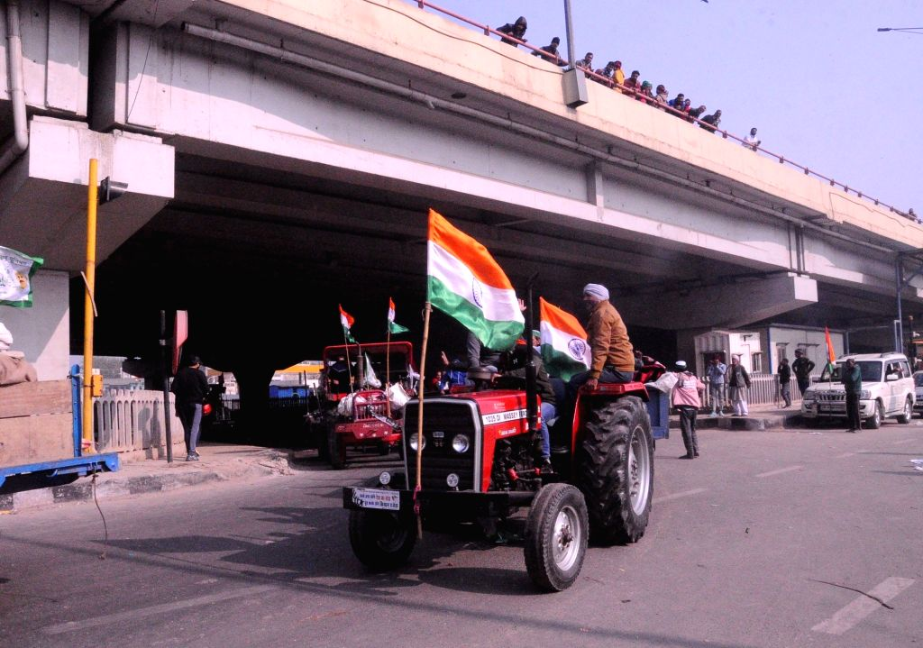 Farmers organize Tractor Rally at Ghazipur, New Delhi on Tuesday, 26 January 2021 . - Rally