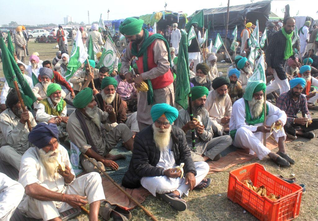 Farmers protest against the Centre's new Farm Bills at the Sant Nirankari ground in Delhi's Burari on Nov 30, 2020.