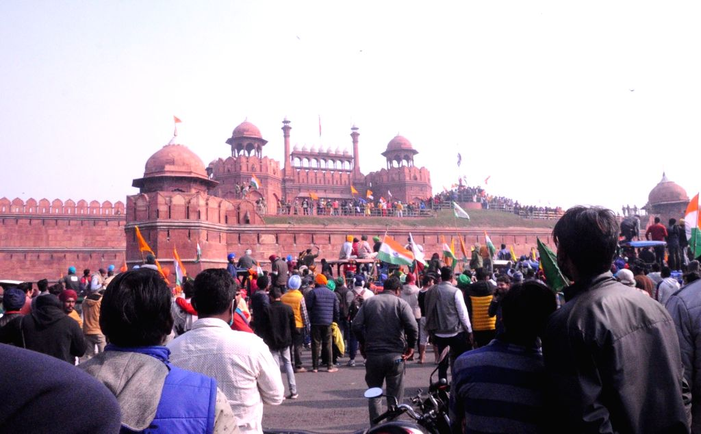 Farmers reach Red Fort ,  Delhi on Tuesday, 26 January 2021.