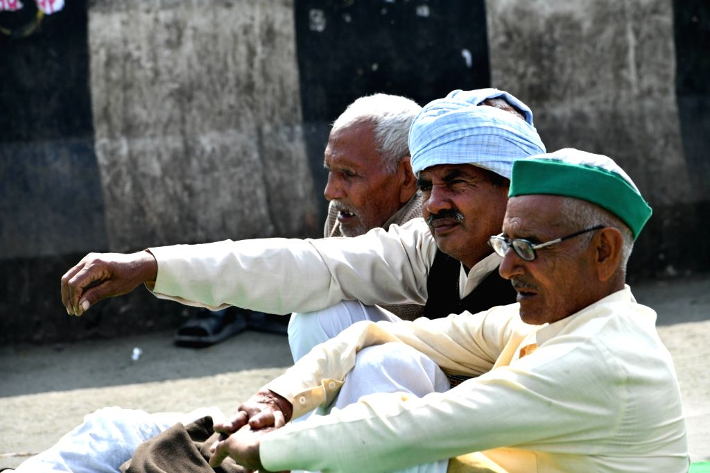 Farmers sitting at the demonstration site during the ongoing farmer protest against the new farm laws at Ghazipur Border, in New Delhi on Monday 22nd February 2021.