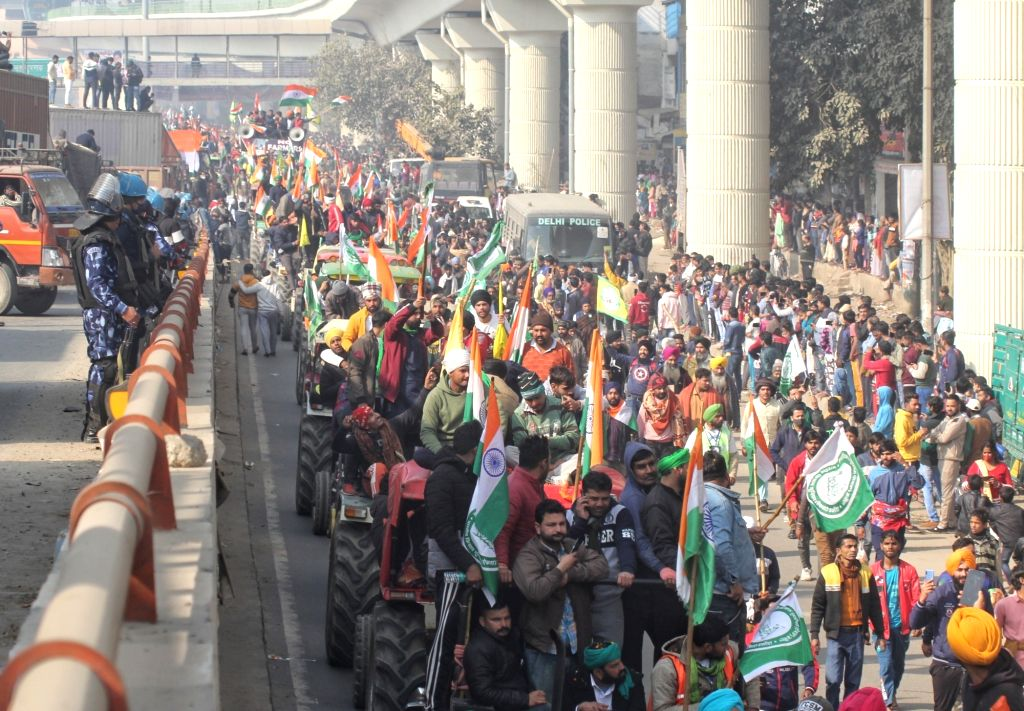 Farmers tractor parade march during republic day from Tikri border to  Peera Garhi Chowk  on 27 Jan 2021