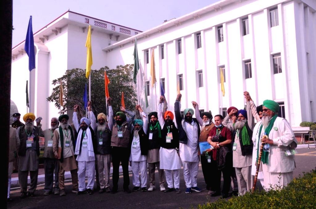 Farmers Union leaders arrived at Vigyan Bhawan, during a meeting with Union ministers on Farmers issue in new Delhi on Saturday.
