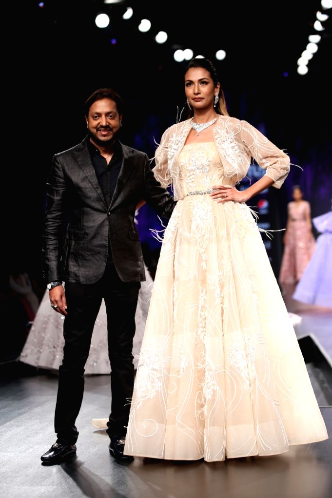 Fashion designer Amit GT on the third day of Lotus Make-up India Fashion Week, in New Delhi on Oct 11, 2019.