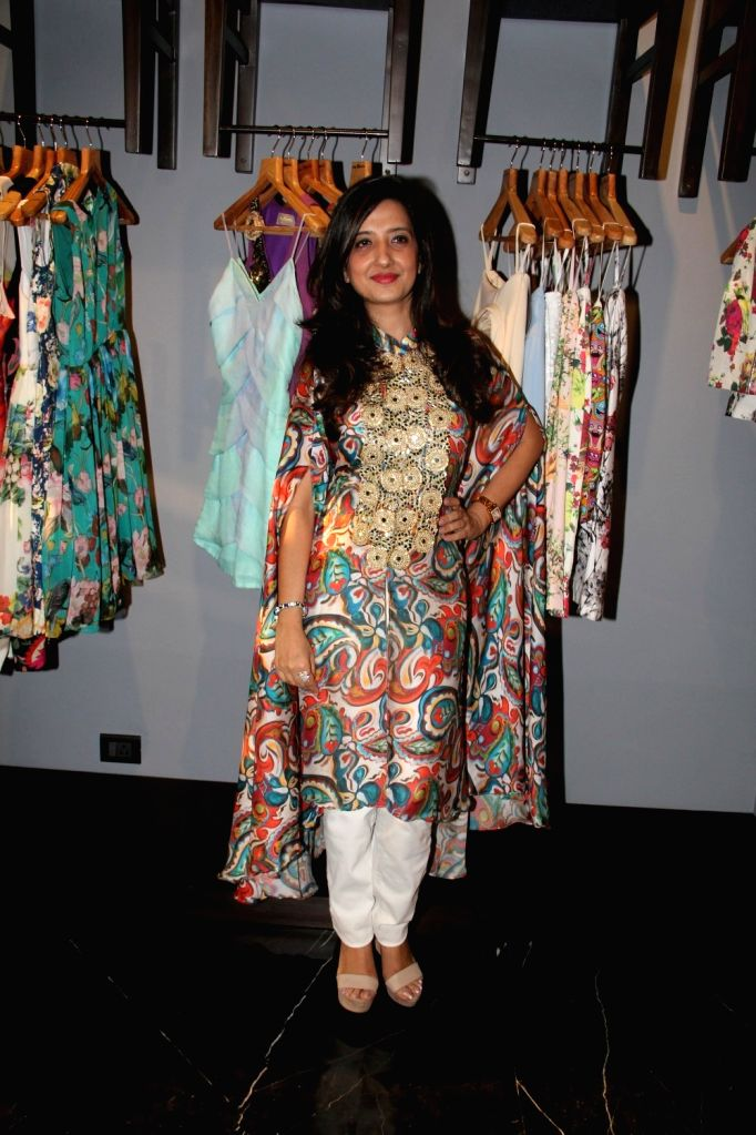 Fashion designer Amy Billimoria during the preview of her Festive Autumn/Winter 2015 collection in Mumbai on Oct 14, 2015.