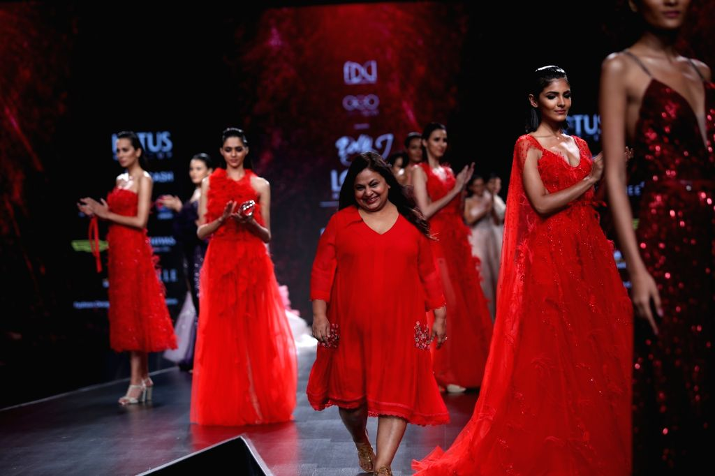 Fashion designer Dolly J on the third day of Lotus Make-up India Fashion Week, in New Delhi on Oct 11, 2019.