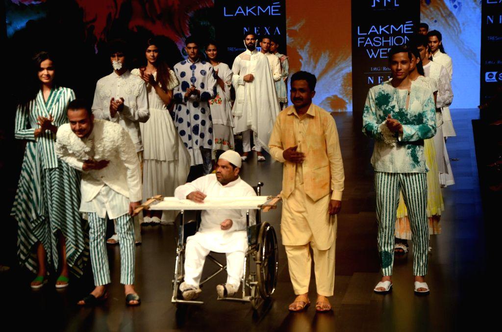 Fashion designer Mohammed Mazhar at Lakme Fashion Week (LFW) Summer/Resort 2019 in Mumbai, on Feb 2, 2019.