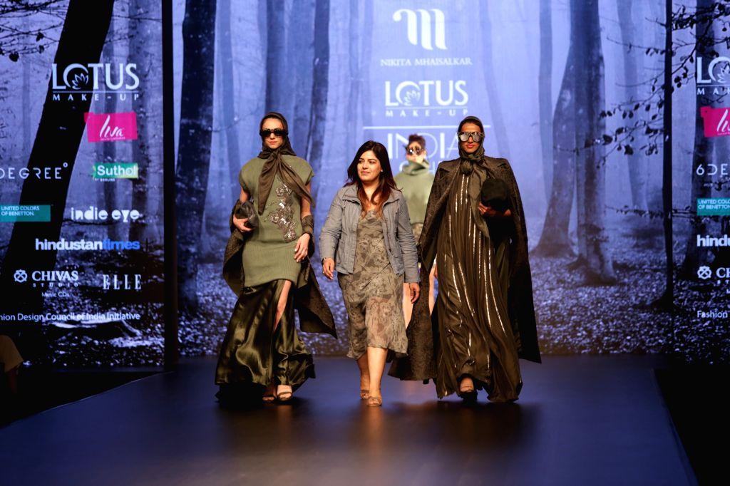 Fashion designer Nikita Mhaisalkar on the second day of Lotus India Fashion Week in New Delhi, on March 14, 2019.