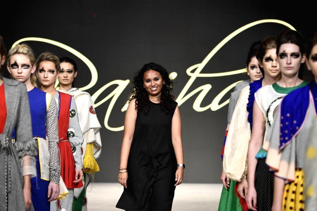 Fashion designer Parinitha Malavalli Nagaraju at Bangalore Fashion Week.