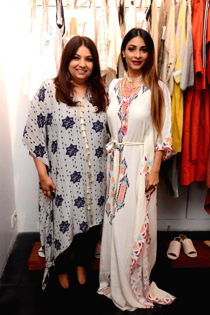 Fashion designer Payal Singhal with actress Tanishaa Mukerji at her store launch in Mumbai, on May 10, 2019. - Tanishaa Mukerji