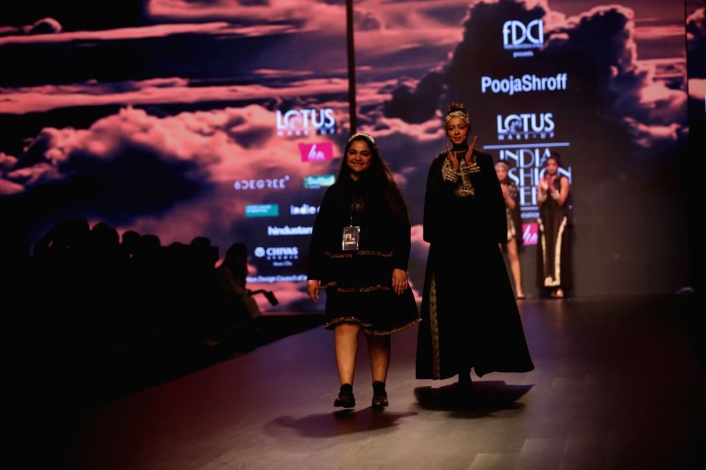 Fashion designer Pooja Shroff on the second day of Lotus India Fashion Week in New Delhi, on March 14, 2019.