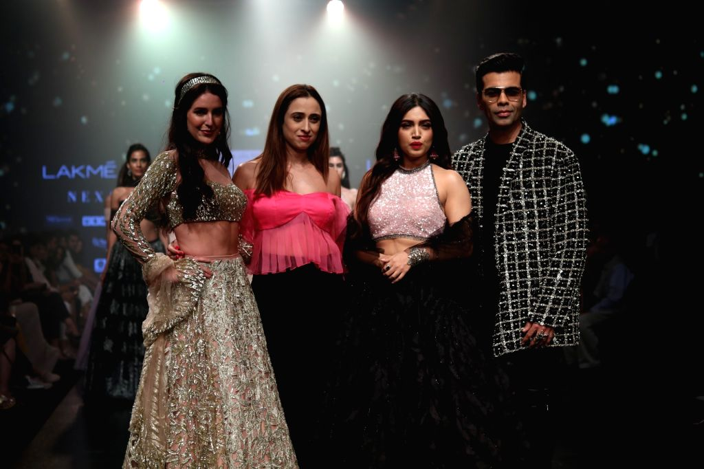 Fashion designer Shehla Khan with filmmaker Karan Johar, actresses Bhumi Pednekar and Isabel Kaif at Lakme Fashion Week (LFW) Summer/Resort 2019 in Mumbai, on Feb 3, 2019. - Bhumi Pednekar, Isabel Kaif, Karan Johar and Shehla Khan