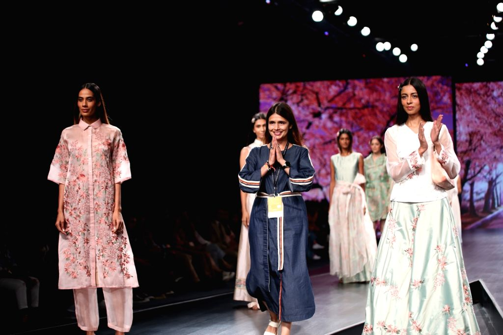 Fashion designer Shruti Sancheti on the second day of Lotus Make-up India Fashion Week where collections from her fashion label 'Abstract' were showcased, in New Delhi on Oct 10, 2019.