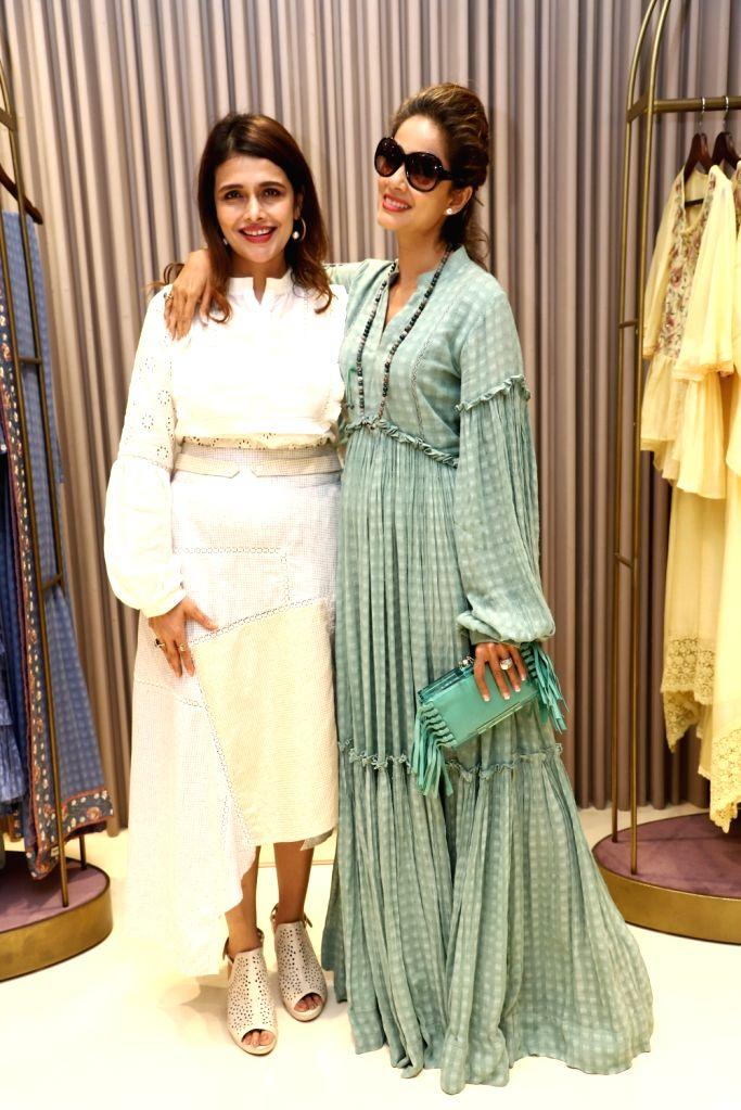 Fashion designer Shruti Sancheti with actress Vidya Malvade at the launch of her new apparel collection, in Mumbai on April 25, 2019. - Vidya Malvade