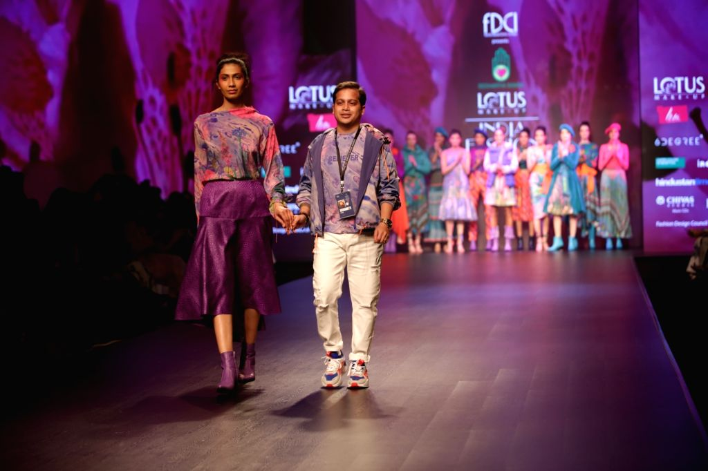 Fashion designer Siddhartha Bansal on the second day of Lotus India Fashion Week in New Delhi, on March 14, 2019.