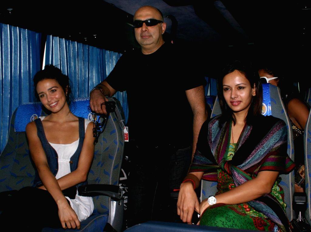 "Fashion designer Tarun Tahiliani and Ashwin Deo at the launch of ""Tiger Fashion Safari Bus"" at the Emporio Mall in New Delhi."