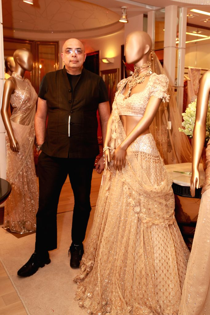 Fashion designer Tarun Tahiliani during a press preview of his creations in New Delhi, on Aug 11, 2015.