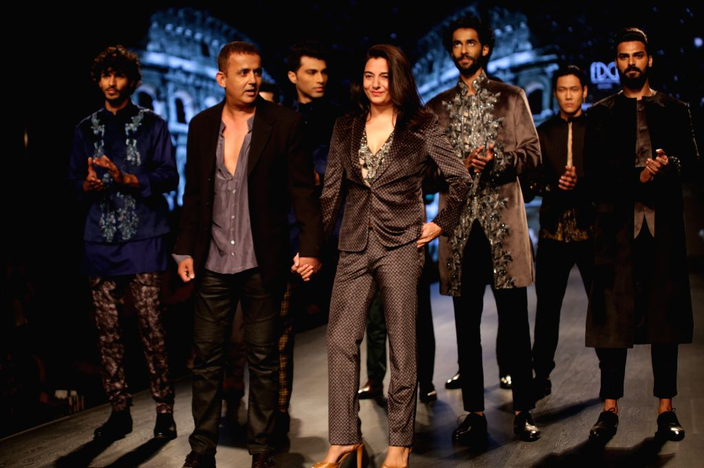 Fashion designers Kommal and Ratul Sood on the second day of Lotus India Fashion Week in New Delhi, on March 14, 2019.