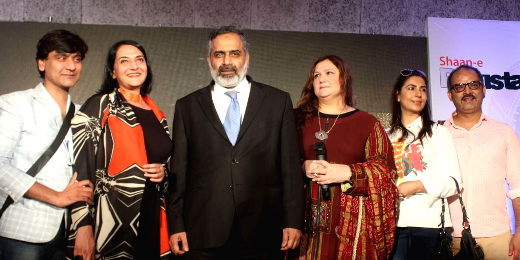Fashion designers Raakesh Agarwal and Poonam Bhagat during `Shaan-e-Pakistan`- a programme organised at the Pakistan High Commission in New Delhi, on Aug 18, 2015.