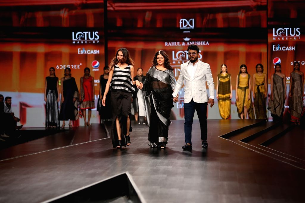 Fashion designers Rahul Anand and Anushka Laul on the third day of Lotus Make-up India Fashion Week, in New Delhi on Oct 11, 2019.