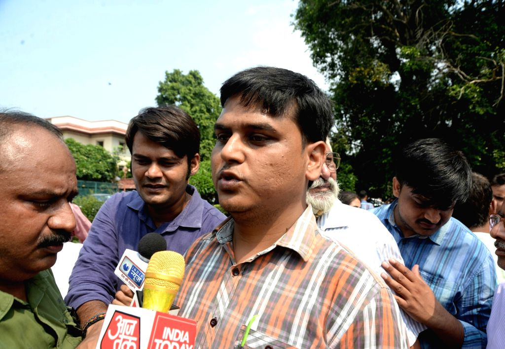 Father of the class 2 student Pradhuman who was found dead by a school staff in Ryan international School's washroom with his throat slit, talks to the press outside the Supreme ...