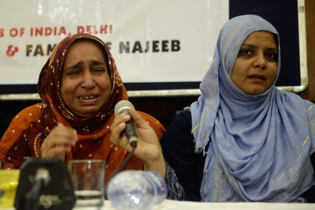 Fatima Nafees, mother of missing JNU student Najeeb Ahmed addresses a press conference in New Delhi, on Oct 27, 2016.