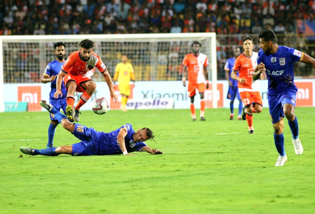Fatorda (Goa): Players in action during an ISL semi-final match between FC Goa and Mumbai City FC at the Jawaharlal Nehru Stadium in Fatorda, Goa on March 12, 2019.