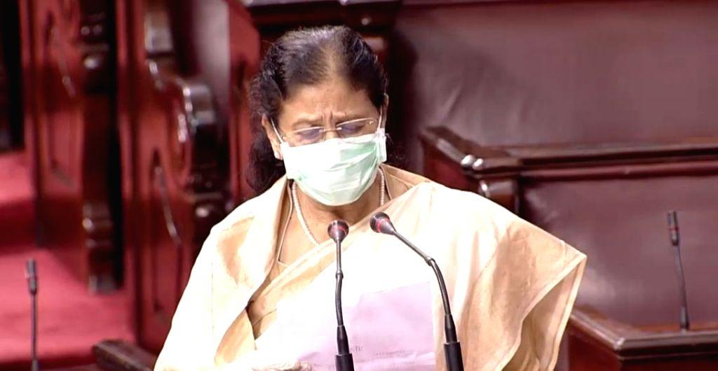 Fauzia Khan takes oath as Rajya Sabha member from Maharashtra, on the first day of the Monsoon Session of Parliament, in New Delhi on Sep 14, 2020. - Fauzia Khan