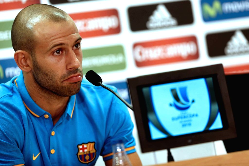FC Barcelona's Argentinian player Javier Mascherano, during a press conference held after a team's training session at Joan Gamper Sports City in Sant Joan Despi, Catalonia, northeastern Spain, 16 ...