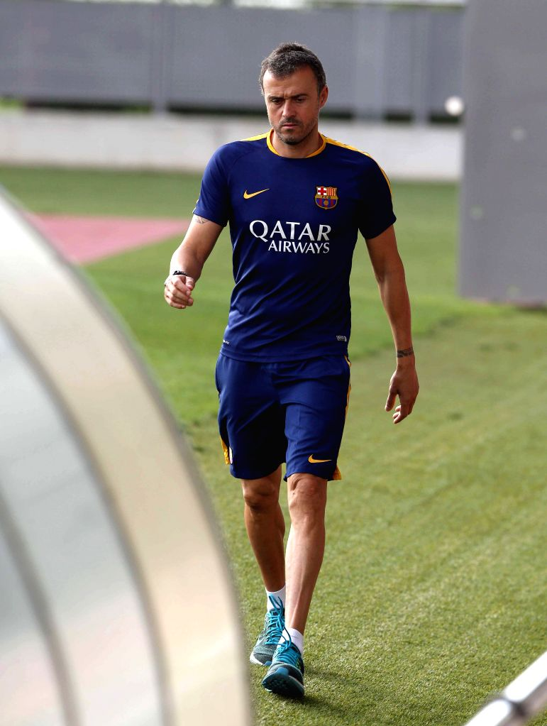 FC Barcelona's Spanish coach Luis Enrique, after a team's training session at Joan Gamper Sports City in Sant Joan Despi, Catalonia, northeastern Spain, 16 August 2015. FC Barcelona will face ...