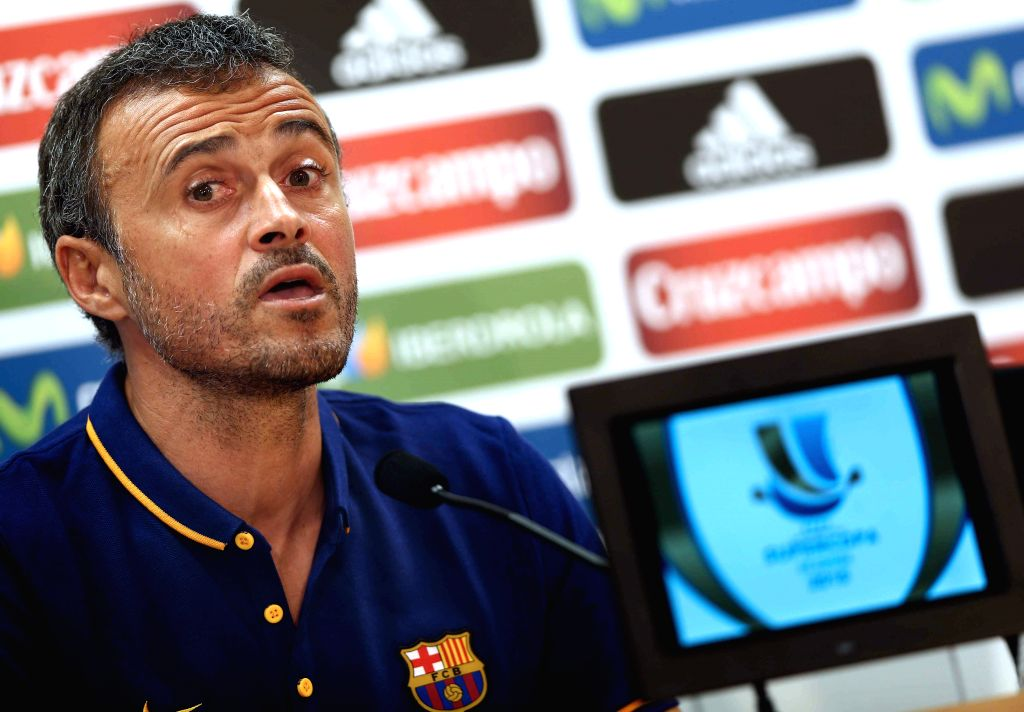 FC Barcelona's Spanish coach Luis Enrique, during a press conference held after a team's training session at Joan Gamper Sports City in Sant Joan Despi, Catalonia, northeastern Spain, 16 August 2015. ...