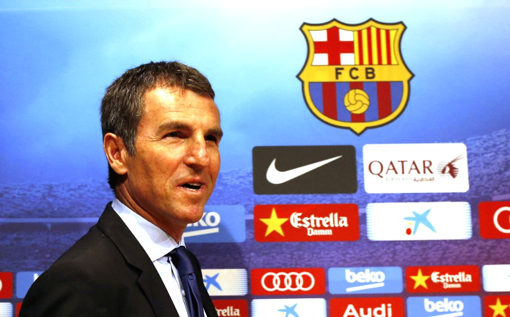 FC Barcelona's Sports manager Rober Fernandez during his presentation as new part of the saff during a press conference held at Camp Nou stadium in Barcelona, Catalonia, Spain on 06 August ...