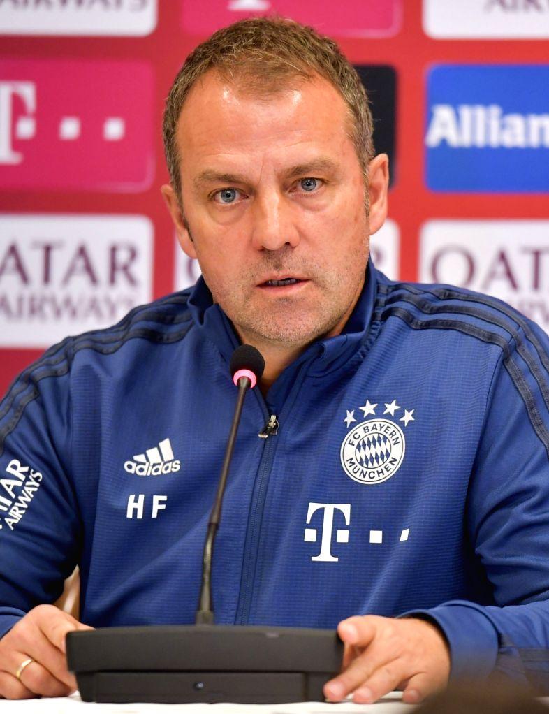 FC Bayern Munich's head coach Hansi Flick speaks at a press conference in Bayern Munich's winter break training camp at the Aspire Zone Foundation in Doha, Qatar, on ...