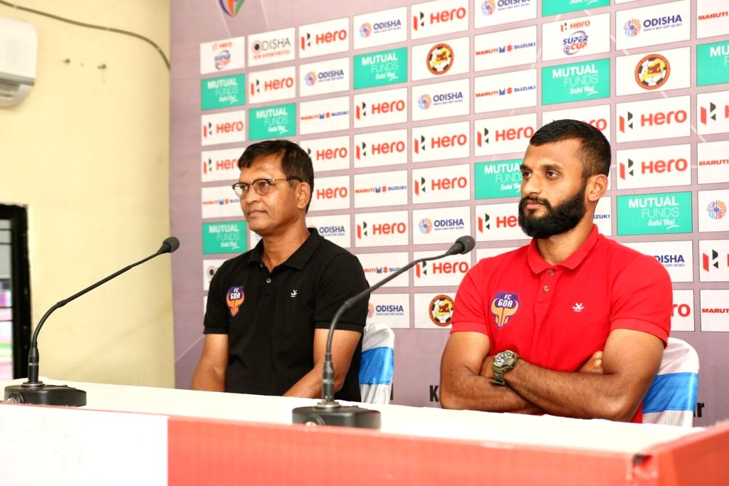 FC Goa caoch Derrick Pereira and the team's player Pronay Halder address a press conference ahead of a match against Jamshedpur FC, in Bhubaneswar on April 11, 2018.