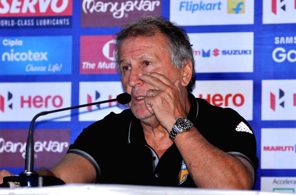 FC Goa coach Zico addresses a pre-match press conference in Kolkata, on Nov 21, 2015.