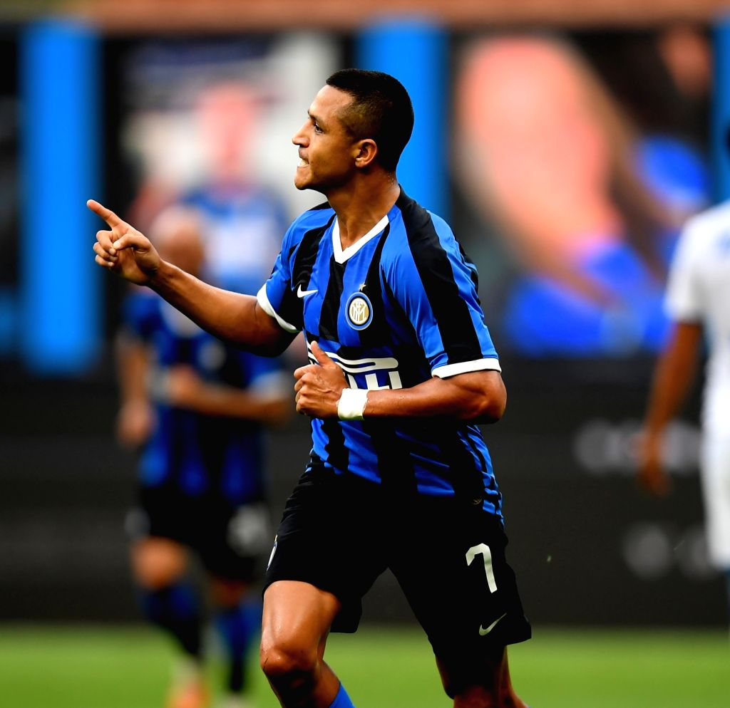 FC Inter's Alexis Sanchez celebrates his goal during a Serie A football match between FC Inter and Brescia in Milan, Italy, July 1, 2020.