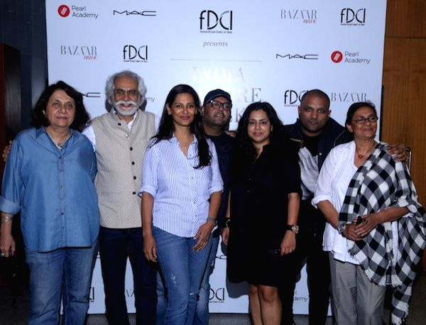 FDCI President Sunil Sethi with the juries Anu Ahuja, Arpana Bahl, Asha Kochhar and Vidyun Singh, Gaurav Gupta and Manav Gangwani during the auditions for FDCI India Couture Week 2016 in ... - Vidyun Singh and Gaurav Gupta