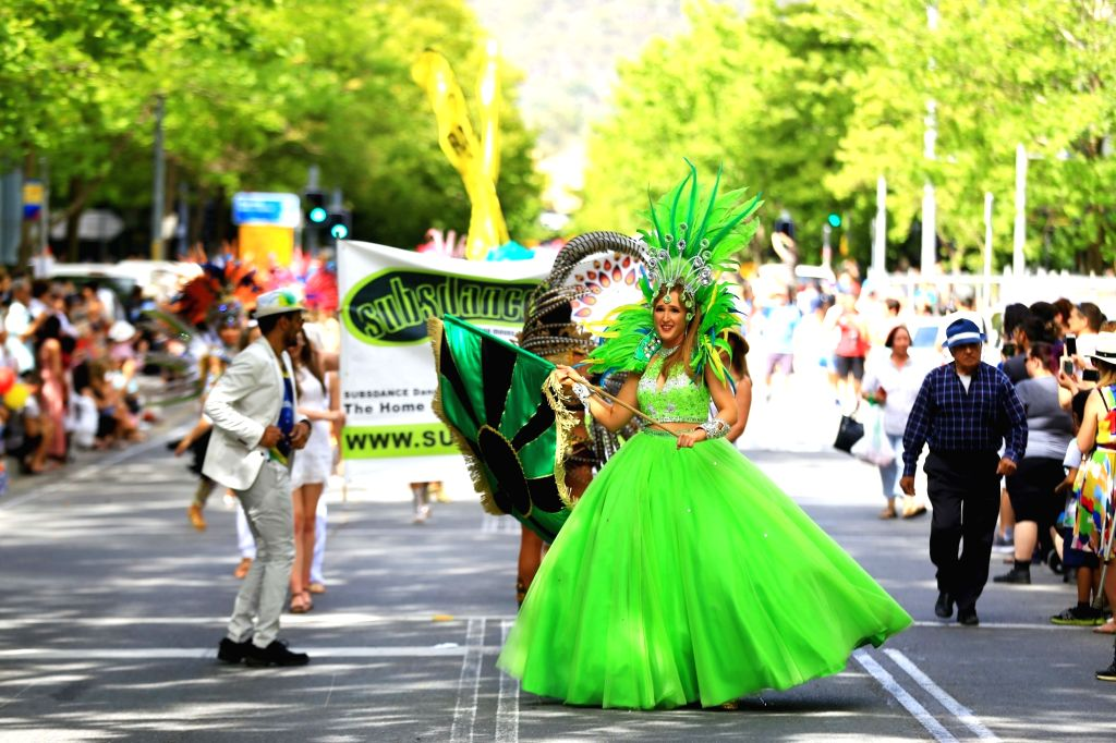 Feb. 16, 2019  --A band presents the Brazilian rhythms of samba during a parade of the 23rd National Multicultural Festival in Canberra, Australia, on Feb. 16, 2019.     The 2019 ...
