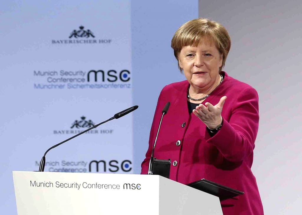 Feb. 16, 2019  --German Chancellor Angela Merkel addresses the 55th Munich Security Conference (MSC) in Munich, Germany, on Feb. 16, 2019.