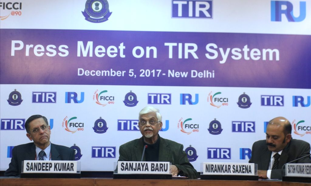 Federation of Indian Chambers of Commerce and Industry (FICCI) Secretary-General Sanjaya Baru addresses a press conference regarding TIR System organised by FICCI, in New Delhi, on Dec 5, ...