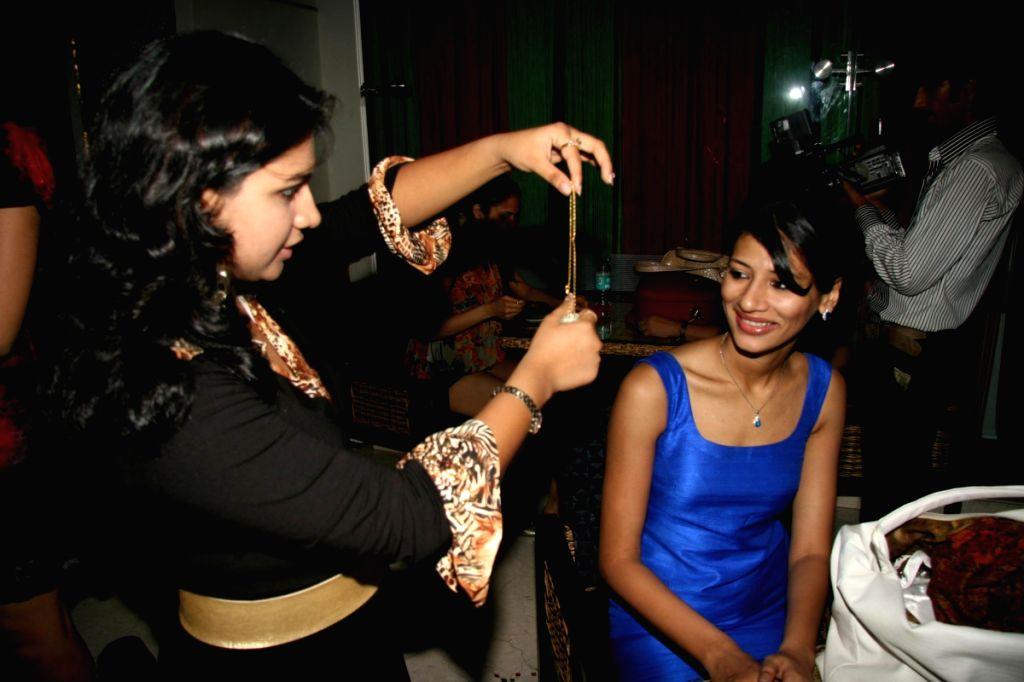 Femina Miss India participants at village theme bash at Sahara Star.