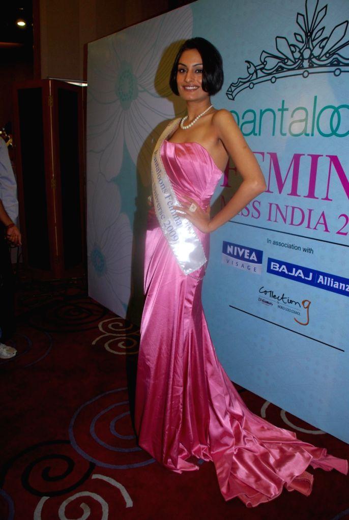 Femina Miss India Universe Ekta Chaudhury posing for the shutterbugs in Mumbai.
