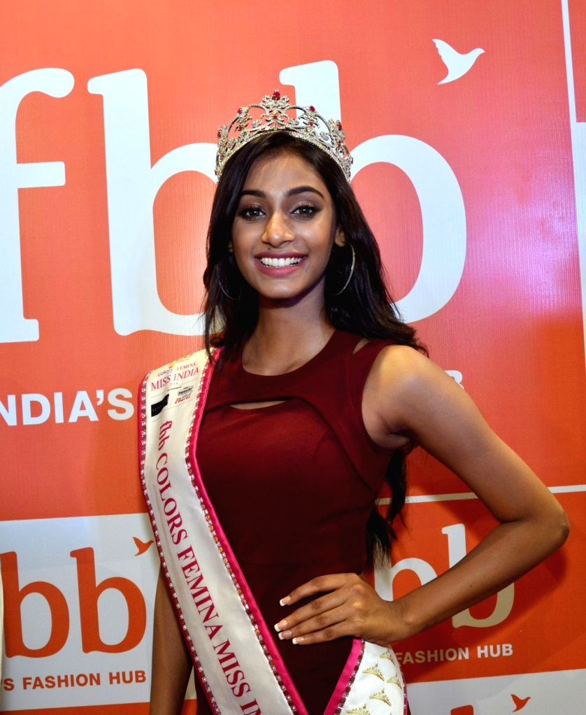 Femina Miss India World 2018 Anukreethy Vas at the inauguration of a store, in Guwahati on Sept 20, 2018.