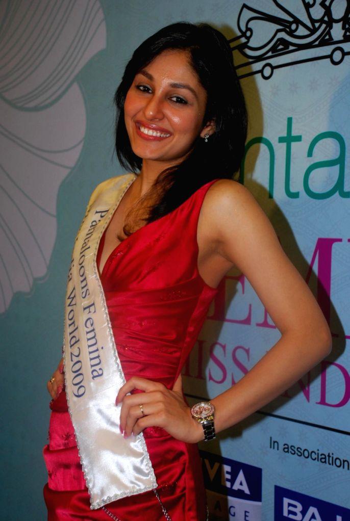 Femina Miss India World Pooja Chopra posing for the shutterbugs in Mumbai. - Pooja Chopra