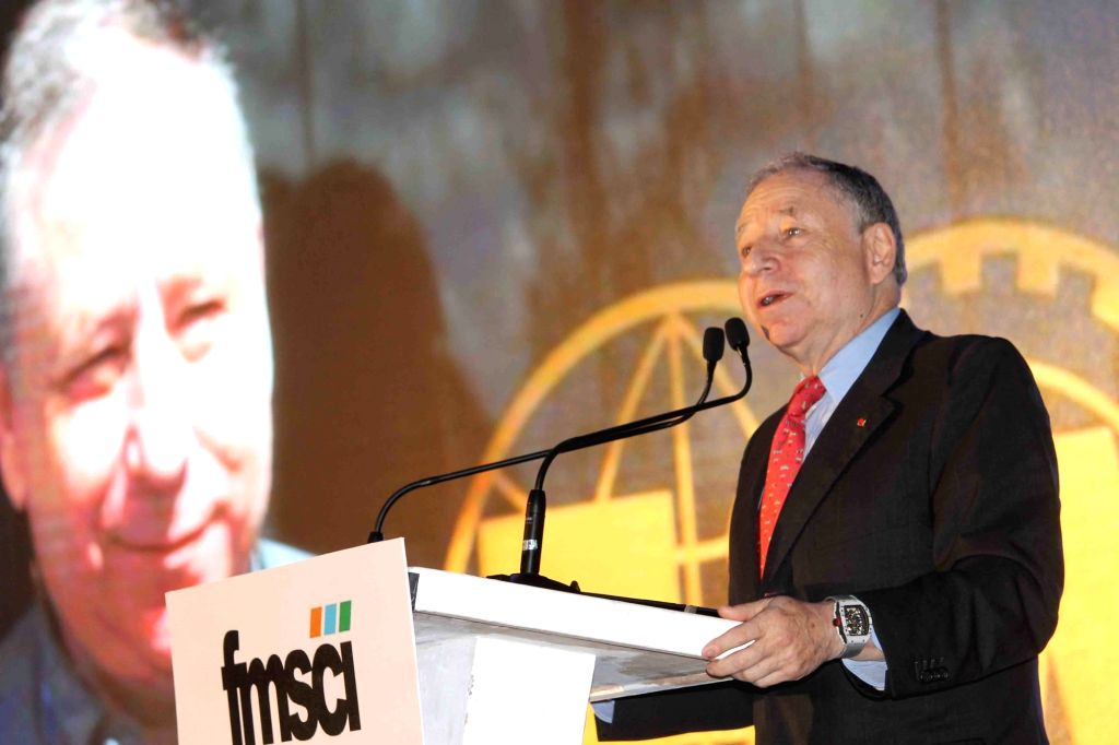 FIA president Jean Todt addresses during the Federation of Motor Sports Clubs of India (FMSCI) awards ceremony in Hyderabad on Feb 3, 2017.