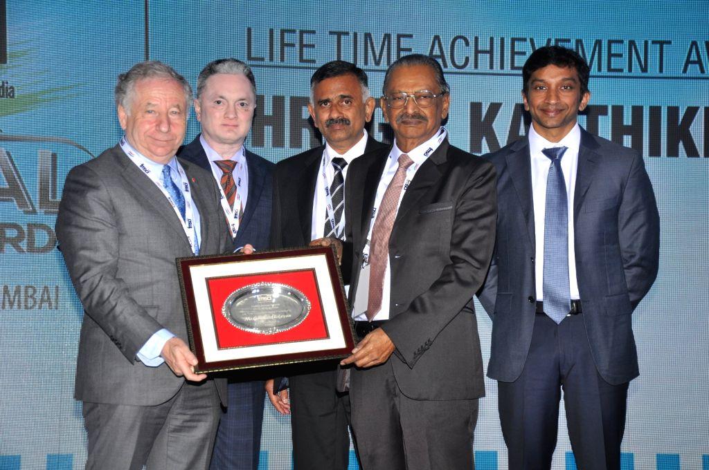 FIA President Jean Todt, Raymond Group CMD Gautam Singhania, FMSCI President J. Prithiviraj, former president of FMSCI (1981-82 & 1985-87), G.R. Karthikeyan honoured with the Lifetime ... - Narain Karthikeyan