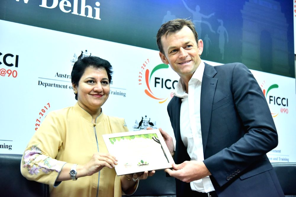 FICCI Director General (International) Ambika Sharma presents FICCI Green Certificate to Australia-India Education Ambassador and Former Australia cricketer Adam Gilchrist during ... - Ambika Sharma