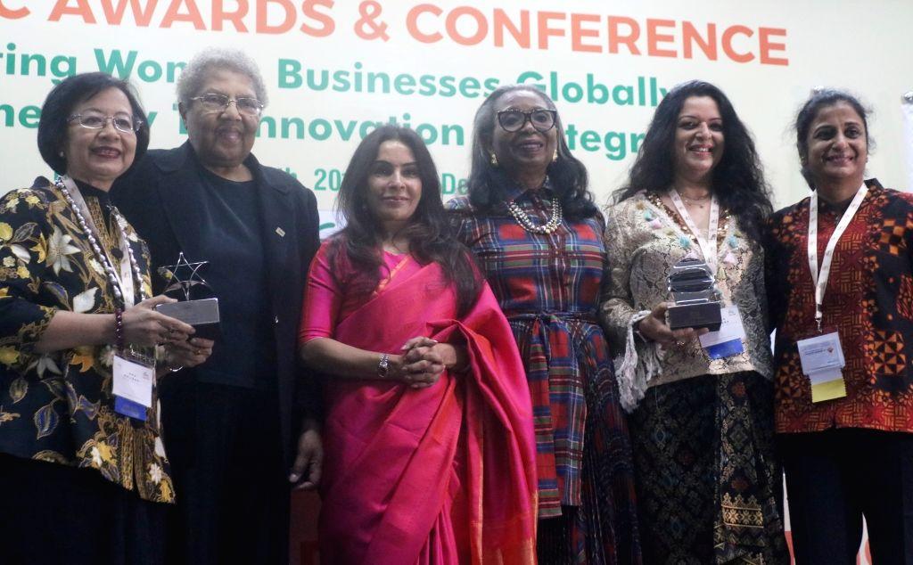 FICCI Ladies Organisation (FLO) President Harjinder Kaur Talwar with delegates at 12th IWEC Awards and Conference in New Delhi on Nov 12, 2019. - Harjinder Kaur Talwar