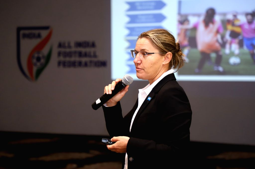 FIFA Women???s Football Regional Consultant Belinda Wilson during an interaction with the All India Football Federation (AIFF), in New Delhi on Sep 27, 2019.