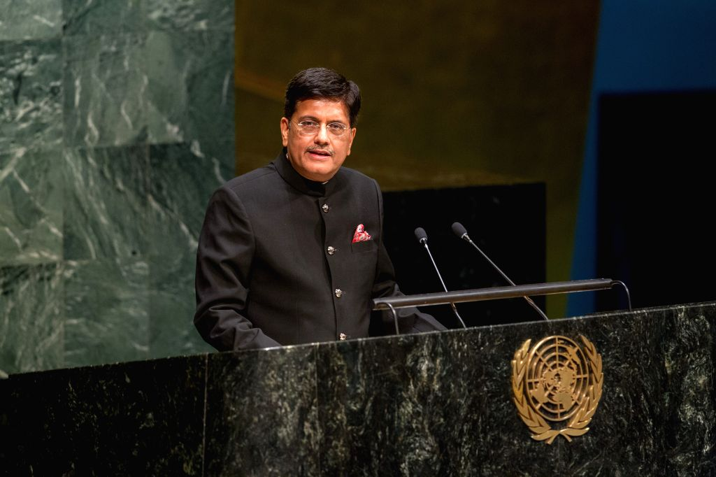 File photo of Piyush Goyal, the Minister for Coal, Power and New and Renewable Energy, addressing the second annual Sustainable Energy for All Forum last May at the United Nations.